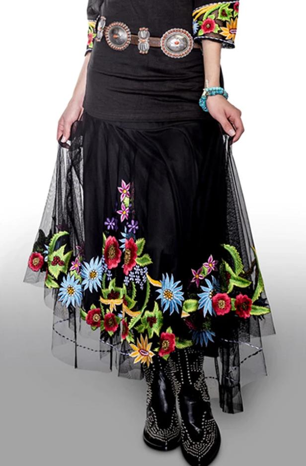 VINTAGE COLLECTION MIDNIGHT FLOWERS SKIRT_Collectible