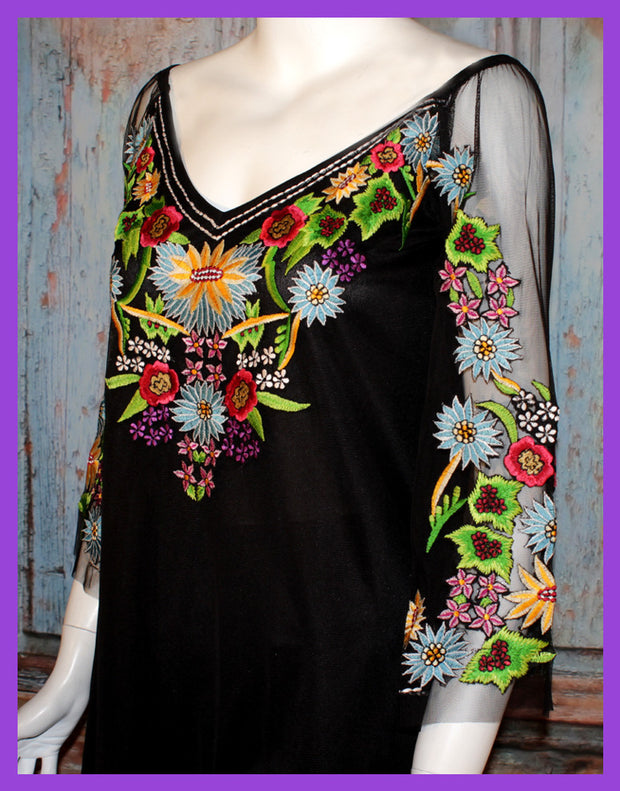 VINTAGE COLLECTION MIDNIGHT FLOWERS TUNIC_on SALE