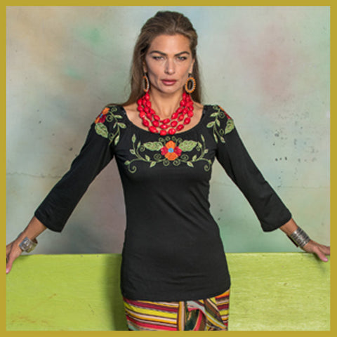 Roja Tribal Peasant Top Spring 2018