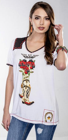 VINTAGE COLLECTION SKULL AND ROSES NOVELTY TEE on SALE