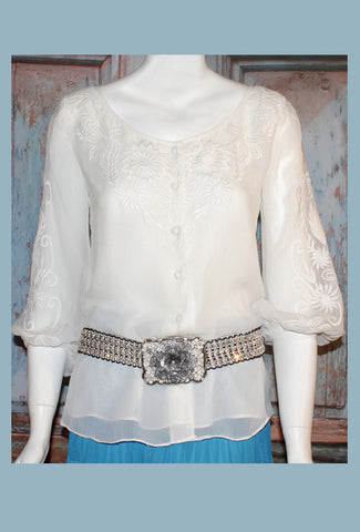 VINTAGE COLLECTION IVORY JABOT BLOUSE