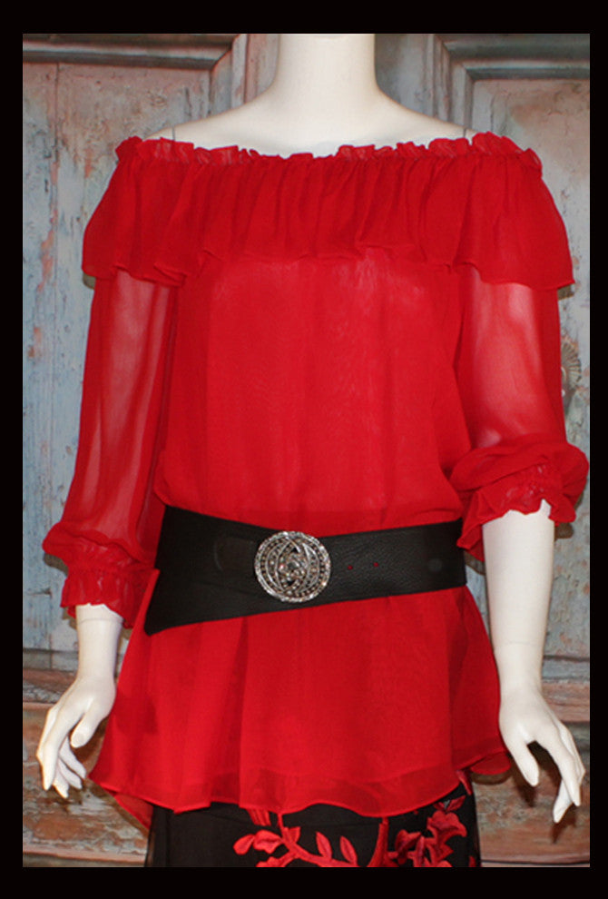 VINTAGE COLLECTION RED NEW PEASANT BLOUSE/TUNIC