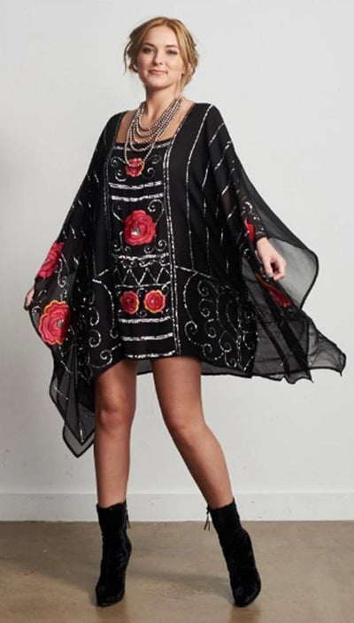 Roja Red Rose Poncho
