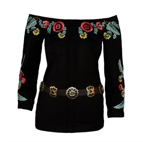 VINTAGE COLLECTION  AZTEC ROSE PEPLUM TOP_Collectible