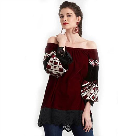 VINTAGE COLLECTION NAVAJO V-NECK KNIT TOP on SALE