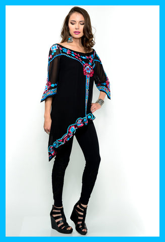 VINTAGE COLLECTION  ONYX FEATHERS TUNIC on SALE
