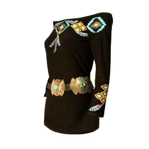 Vintage Collection Black Sunshine Saltillo Embroidered Top