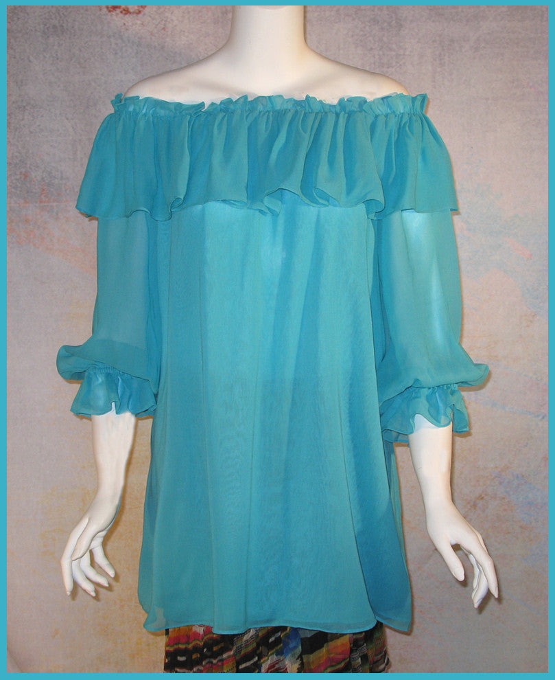 VINTAGE COLLECTION TURQUOISE NEW PEASANT BLOUSE/TUNIC