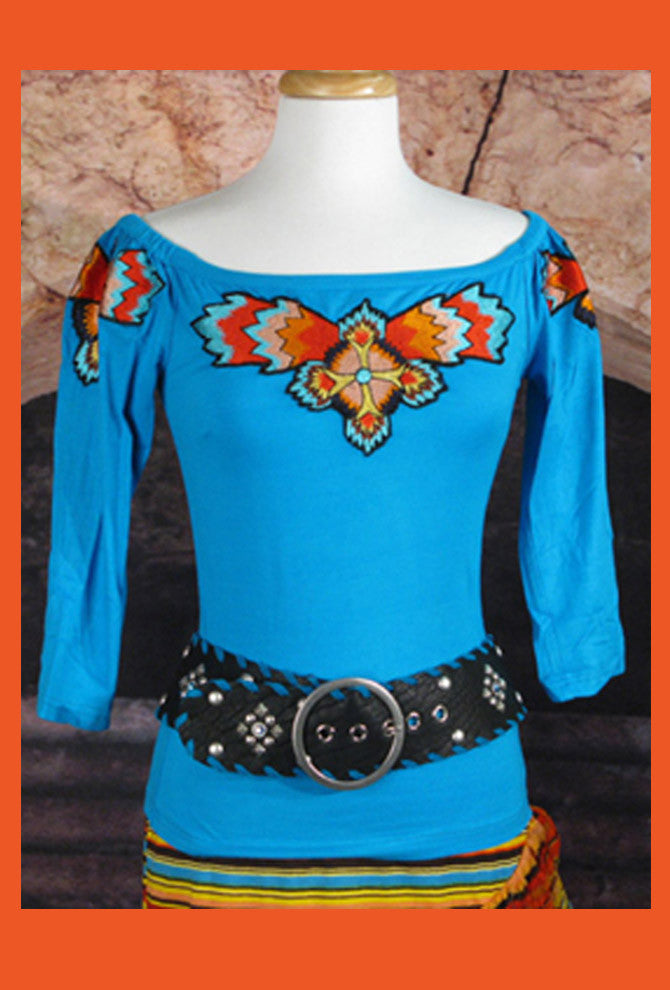 Vintage Collection Turquoise Sunset Saltillo Embroidered Top_Collectible