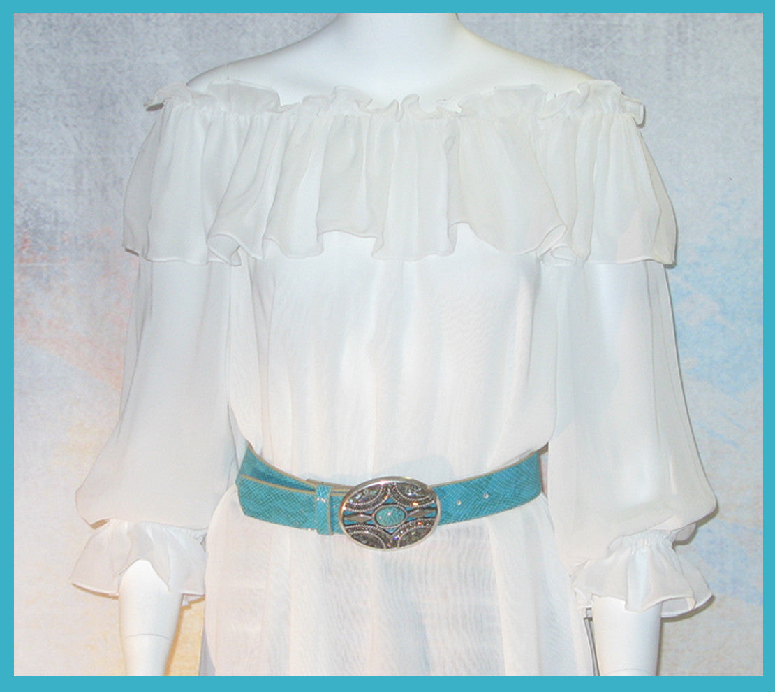 Vintage Collection White Ruffle Peasant Tunic