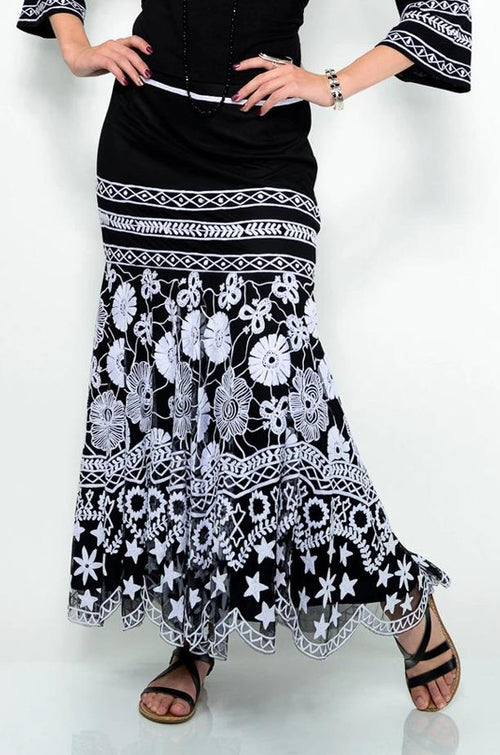VINTAGE COLLECTION WHITE GARDENIA LONG SKIRT on SALE