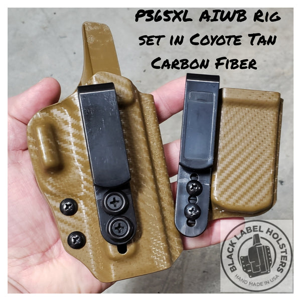 "Icarus Precision ACE-equipped Sig Sauer P365 & P365XL Variants- ""AIWB Rig"" Full Kydex Appendix Holster w/ Adjustable Ride Height and Cant"