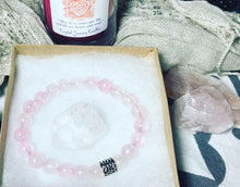 Rose Quartz Healer Bracelet with clear quartz chunk
