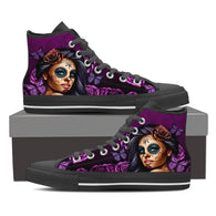 Calavera Girl Tattoo Design on Women's High Top Shoes - SALE