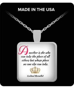 Square Pendant Necklace for Mom with a Quote