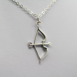 Silver Plated Archer's Bow & Arrow Statement Pendant Necklace- SALE