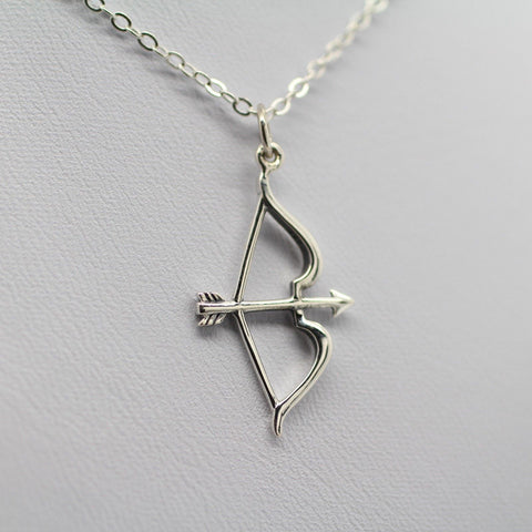 Silver Plated Archer's Bow & Arrow Statement Pendant Necklace - Cach Best