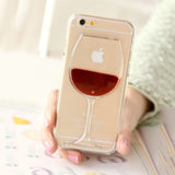 Red Wine Glass Flowing Liquid Design Transparent Case for Iphones - FREE Shipping - Cach Best