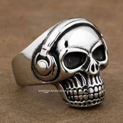 316L Stainless Steel DJ Skull Men's Biker Ring 7X001 - Cach Best