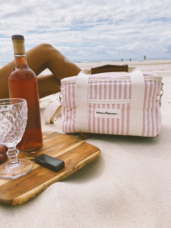 pink cooler bag on the beach