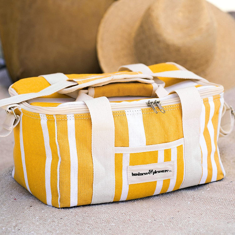 yellow cooler bag that comes free with purchases over 100 dollars