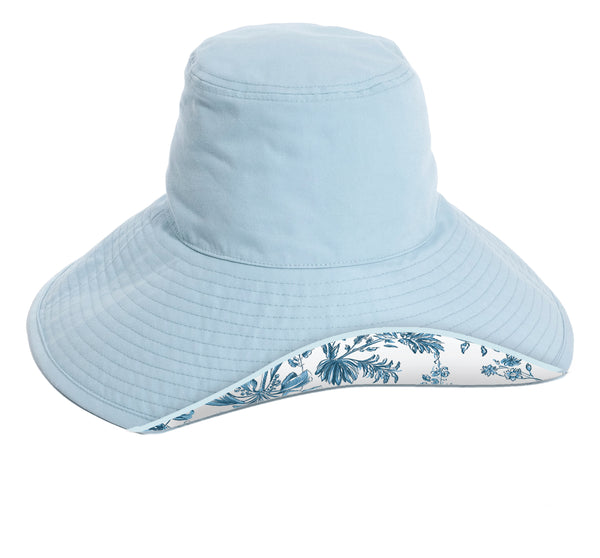 THE WIDE BRIM HAT - Blue Chinoiserie
