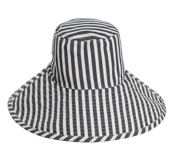 THE WIDE BRIM HAT - LAURENS NAVY STRIPE