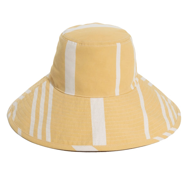THE WIDE BRIM HAT - VINTAGE YELLOW STRIPE
