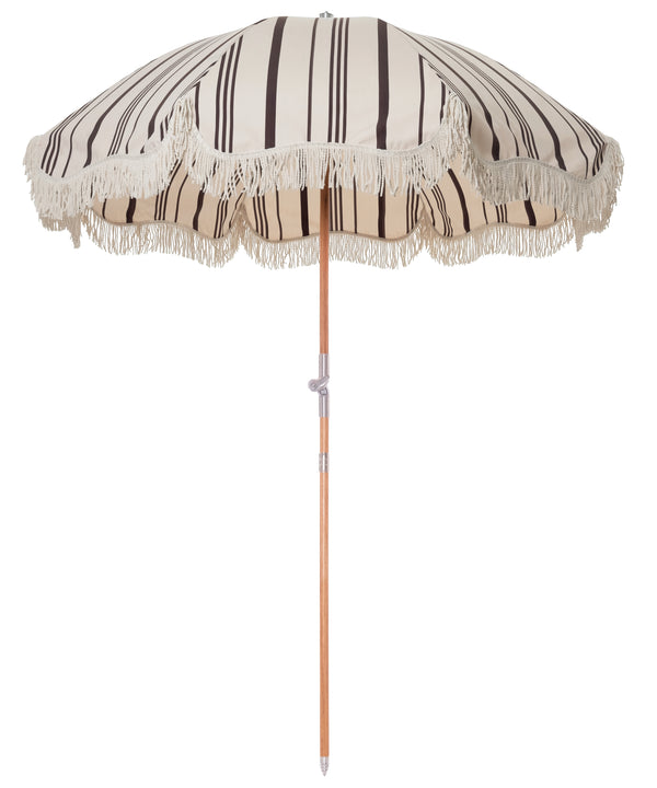 The Premium Beach Umbrella - Vintage Black Stripe - Business & Pleasure Co