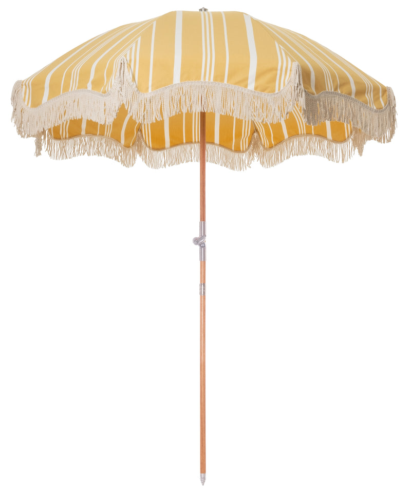 The Premium Beach Umbrella - Vintage Yellow Stripe - Business & Pleasure Co