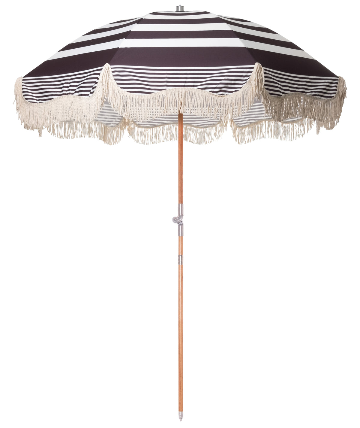 The Premium Beach Umbrella - Black Riviera Stripe - Business & Pleasure Co