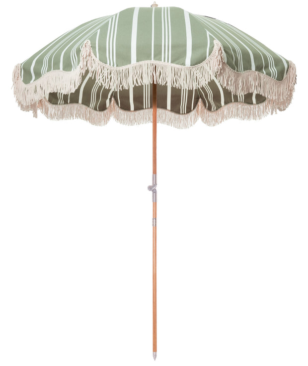 The Premium Beach Umbrella - Vintage Green Stripe - Business & Pleasure Co