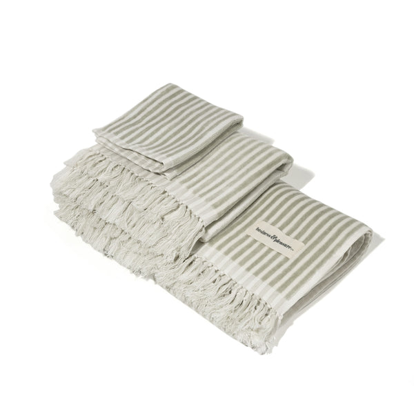The Bath Set - Lauren's Sage Stripe