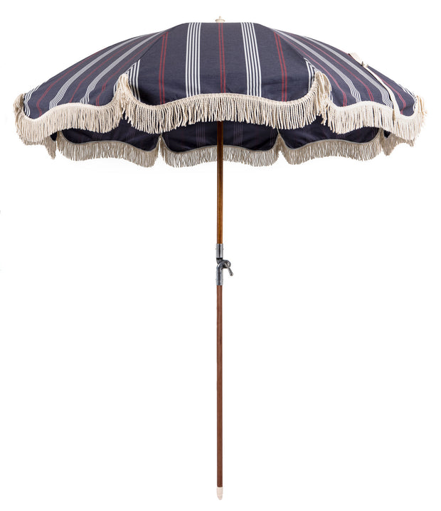 Vintage Print Premium Beach Umbrellas With Fringe