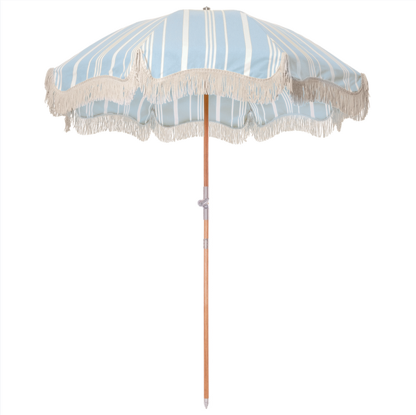 The Premium Beach Umbrella - Vintage Blue Stripe