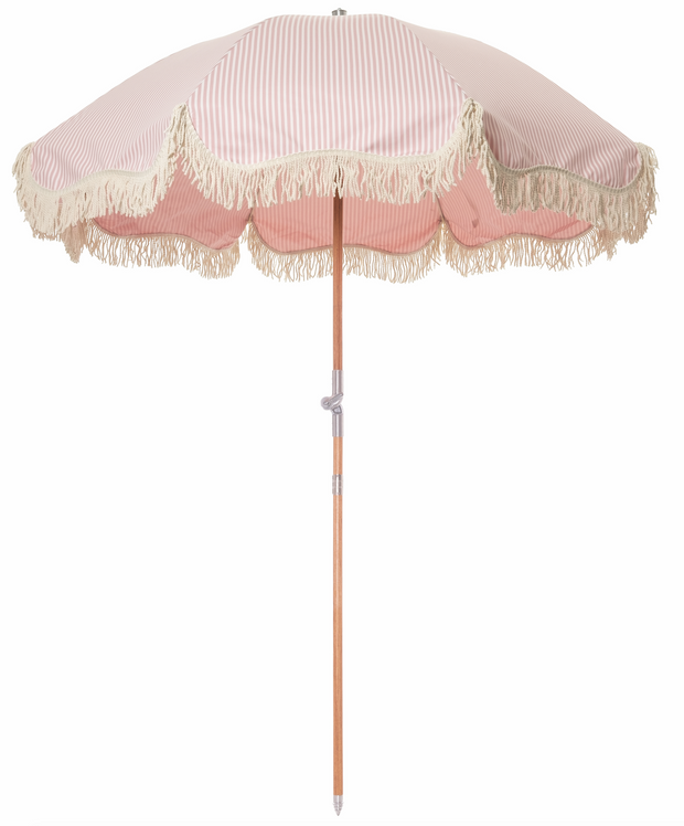 The Premium Beach Umbrella - Lauren's Pink Stripe - Business & Pleasure Co
