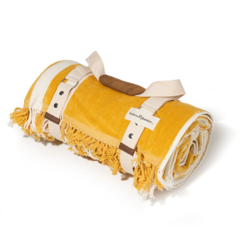 The Beach Blanket - Vintage Yellow Stripe