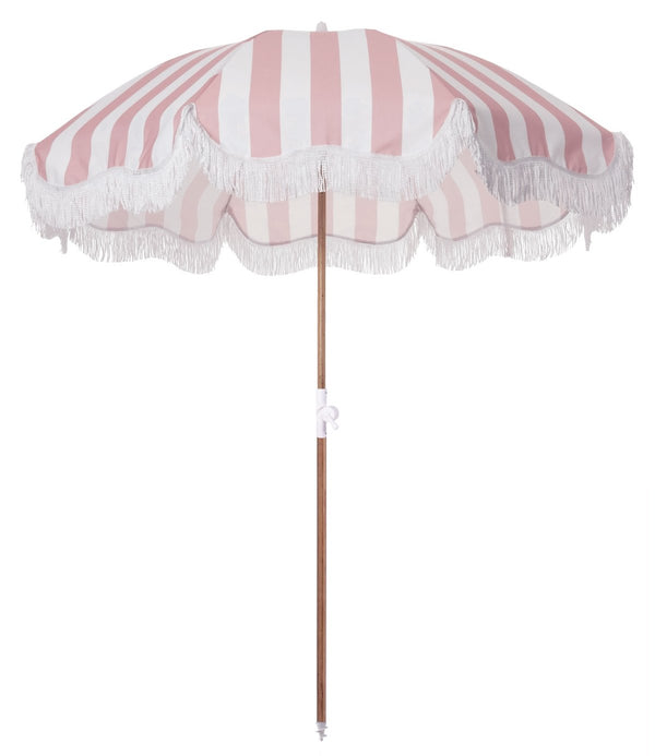 The Holiday Beach Umbrella - Pink Crew Stripe - Business & Pleasure Co