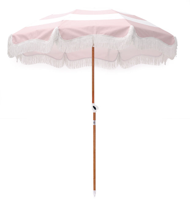 PRE-ORDER Pink Stripe Holiday Beach Umbrella - Business & Pleasure Co
