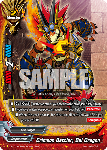 X-BT01A-CP01/0005 Crimson battler, Bal dragon (RRR)