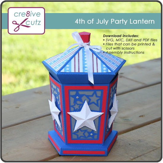 4th of July Party Lantern - New 3D Papercrafting Pattern
