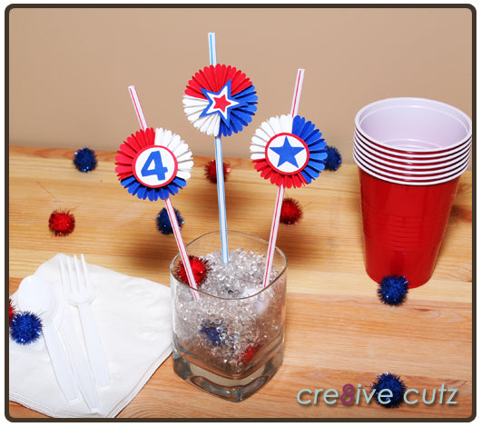 4th of July Party Straw Toppers