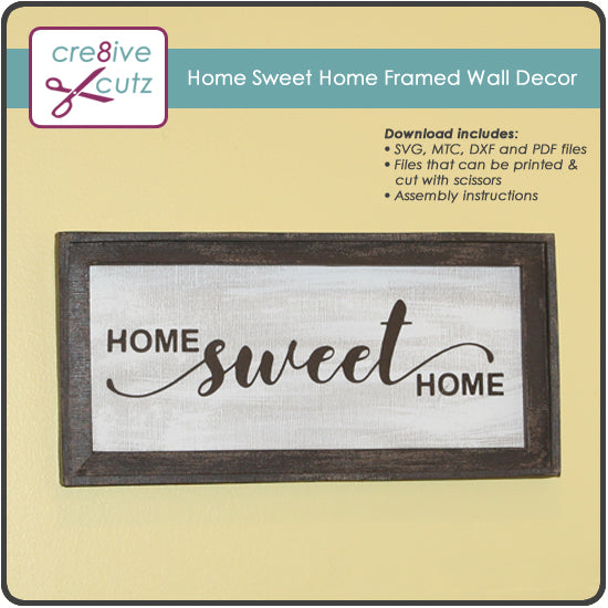 Home Sweet Home Framed Wall Decor - New 3D SVG Pattern