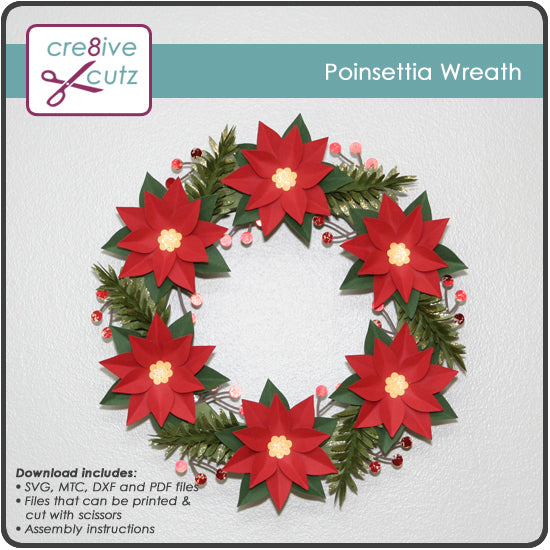 Poinsettia Wreath Christmas Decor - New 3D SVG Pattern