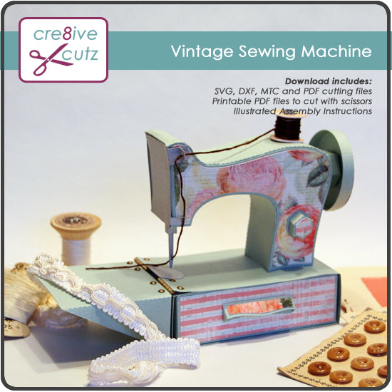 This 3D sewing machine craft project is an example of our many 3D Paper Craft Patterns