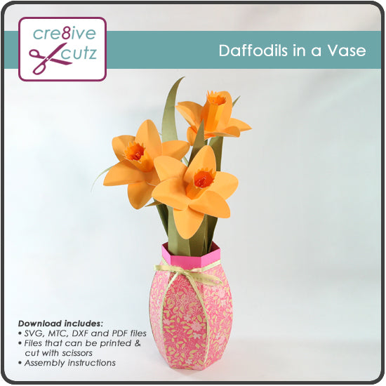 Spring Daffodils in a Vase paper craft project