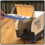 Back of vintage trailer open as gift box - 3D SVG papercraft project