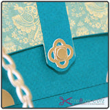 Close up of closure detail on 3D SVG paper handbag cutting file