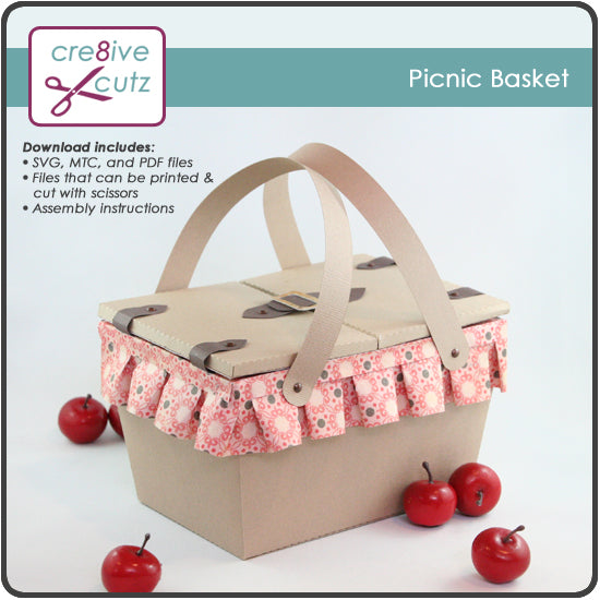 3D SVG Picnic Basket Papercrafting Pattern compatible with Cricut Design Space and Silhouette Studio