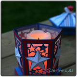 Candle inside Independence Day paper luminary